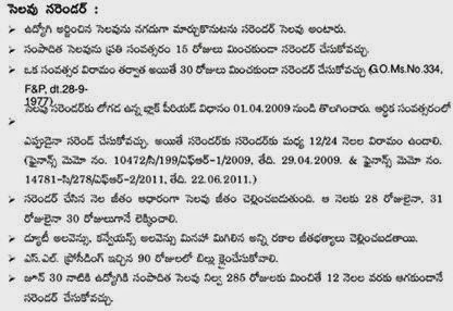 Surrender Leave Software for Teachers & GO , EL Complete information for AP TS Employees