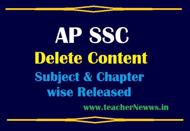 AP 10th Removed Content (Deleted) Chapter wise in all Subject Syllabus for SSC TM & EM