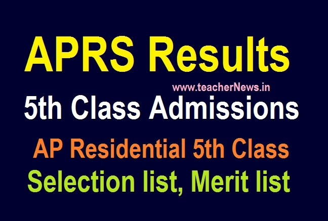 AP Residential 5th Results 2020 APREIS District School Wise 5th Merit Selection list