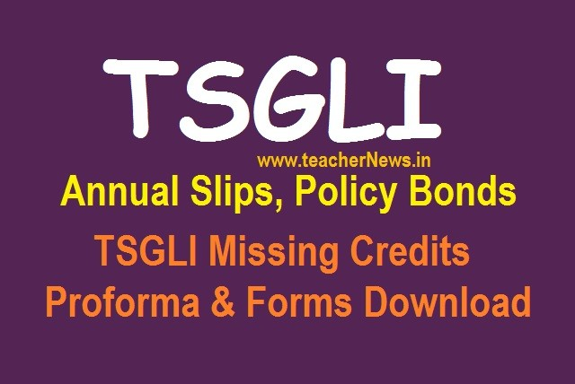 TSGLI Annual Slips Statements, Policy Bond details, forms download at tsgli.telangana.gov.in