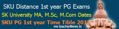 SKU Distance PG 1st/ final year Exam Time Table 2017 MA MSc M.Com Schedule