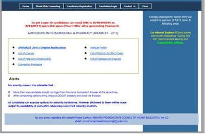 AP EAMCET Web Options Procedure rank wise Dates Certificate Verification apeamcet.nic.in