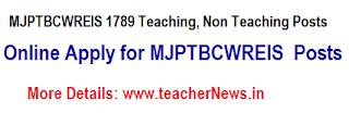 MJPTBCWREIS 1789 Teaching, Non Teaching Posts Online Apply