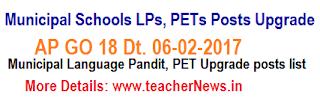 Municipal Schools Language Pandits,  PETs Posts Upgrade as per GO 18