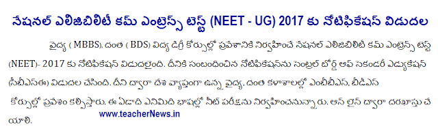 NEET 2017 MBBS, BDS Admission Test Notification,How to Apply Online Application, Hall tickets, Admit card, Couselling dates, Rank Cards, Results