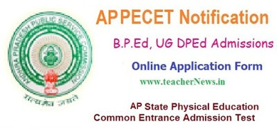 AP PECET 2017 Notification B.P.Ed UG DPEd Online Application form