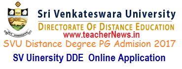 SVU Distance Degree PG Admission Notification 2017 Online Application form
