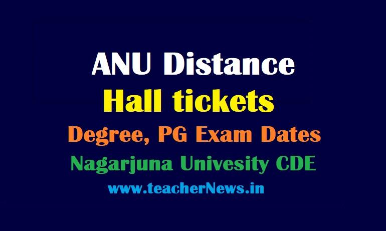 ANU Distance Hall tickets for Degree PG Exam 2021 Nagarjuna Univesity CDE PG Degree Exam Dates