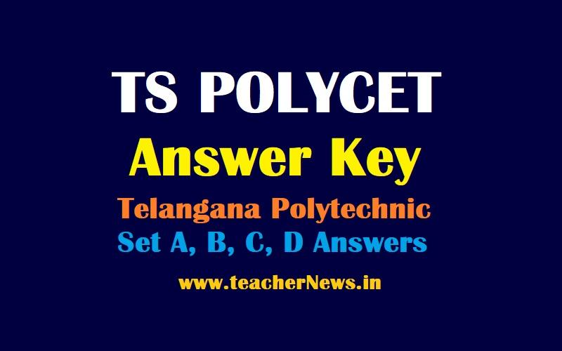 TS POLYCET Answer Key Scheet 2021 - Telangana Polytechnic Set A, B, C, D Answers Cutoff Marks