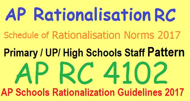 AP Schools Rationalization schedule 2017 Cutoff Dates, Schools/ Posts list as per Rc 4102