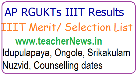 AP IIIT Phase 2 Couselling Dates 2021 RGUKT Selection List for Idupulapaya, Ongole, Srikakulam, Nuzvid for BTech admissions