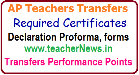 Teachers Transfers Required Certificates/ Proforma/ Forms/ Applications for Preferential Category Points