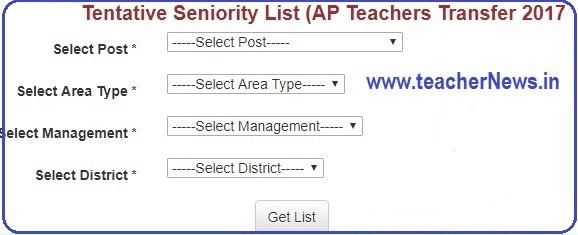 District wise SGT/ LP/ PET/ SA Seniority list for Teachers Transfers 2017