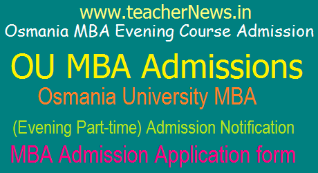 OU MBA Evening/ Part time Course Admission Notification 2017 Online Apply at ouadmissions.com