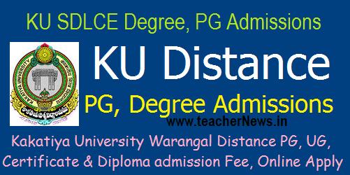 KU Distance PG, Degree Admissions 2017 Kakatiya UG PG Distance Education sdlce.co.in