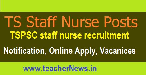 TSPSC Staff Nurse Recruitment 2017 Online Apply for 1196 posts at tspsc.gov.in