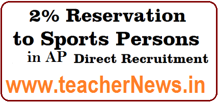 Sports Persons 2% Reservation in AP Govt. Jobs Recruitment as per GO 13