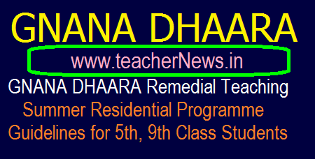 GNANA DHAARA Remedial Teaching Summer Residential Programme for 5th, 9th Class Students - Gnana Dhaara Guidelines, Subjects, Daily Time table, Conducting Instructions.