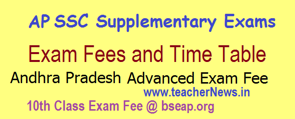 AP SSC Advanced Supplementary Exam Dates 2018- AP 10th Class advanced Exam Time table