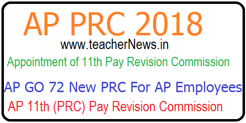 AP PRC 2018 - Appointment of 11th Pay Revision Commission GO 72 For AP Employees
