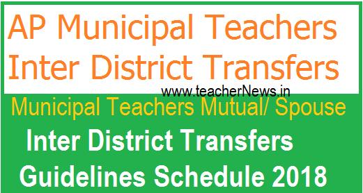 AP Municipal Teachers Mutual/ Spouse Inter District Transfers Guidelines Schedule 2018