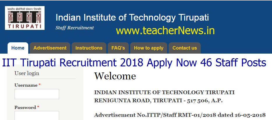 IIT Tirupati Recruitment 2018 Apply Now 46 Staff Posts at iittp.ac.in