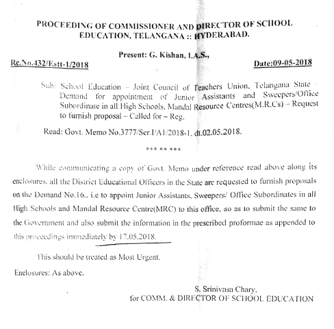 TS MRS High School Junior Assistants, Office Subordinates Sweepers Appointment Proposal