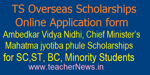 TS Overseas Scholarships Online Application form for Fresh Registraitions to SC,ST, BC, Minority Students