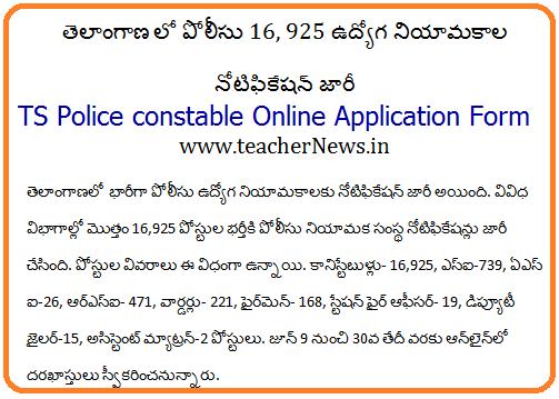 TS Police Constables 16925 Posts Online Application Form at www.tslprb.in