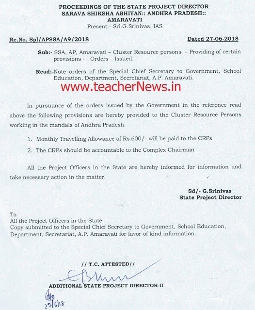 CRPs Monthly Rs. 600 Travelling Allowance - AP Cluster Resource Person Travelling Allowance