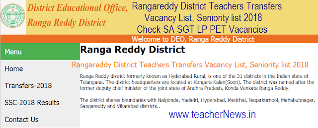 DEO Rangareddy District Teachers Transfers Vacancy List, Seniority list 2018 – Check SA SGT LP PET Vacancies