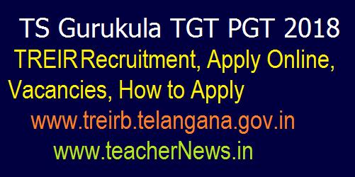 TS Gurukula PGT 2018 Recruitment, Apply Online, Vacancies @www.treirb.telangana.gov.in