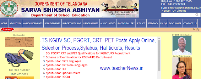 TS KGBV SO, PGCRT, CRT, PET Posts Apply Online at ssa.telangana.gov.in –Selection Process 2018