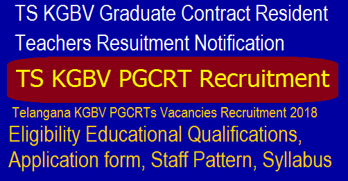 TS KGBV PGCRT Recruitment 2018 - Vacancies of Graduate Contract Resident Teachers | Apply Now
