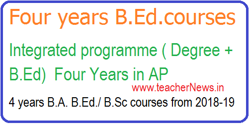 4 years B.A. B.Ed./ B.Sc courses from 2018-19 | Integrated programme (Degree + B.Ed)  Four Years