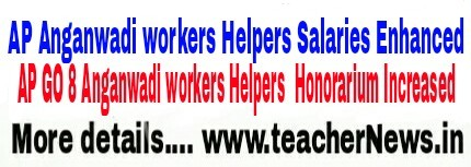 AP GO 18 Anganwadi Workers, Helpers Honorarium Enhanced with Effect From 01-04-2016