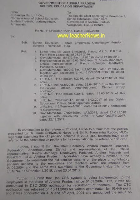 Old Pension Proposals for AP DSC 2003 Teachers from CSE Rc 115