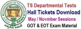 TS Departmental Test Hall Tickets 2020 May / Nov Session GOT EOT hall tickets www.tspsc.gov.in