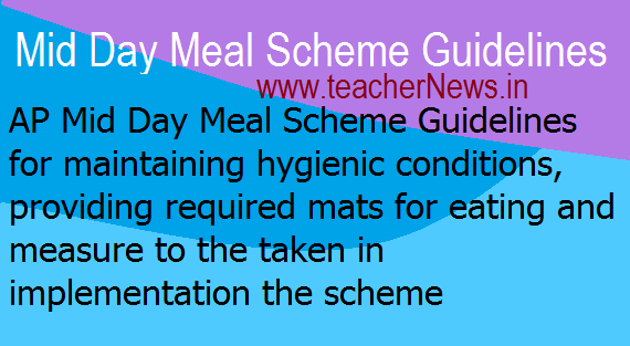 Eating Mats Proving for MDM in AP Schools - Mid Day Meal Scheme Guidelines