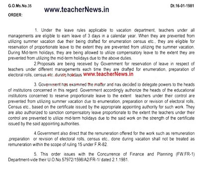 Teachers during Holidays for Enumeration Census - Mid-term / Summer Holidays Reservation of Leave