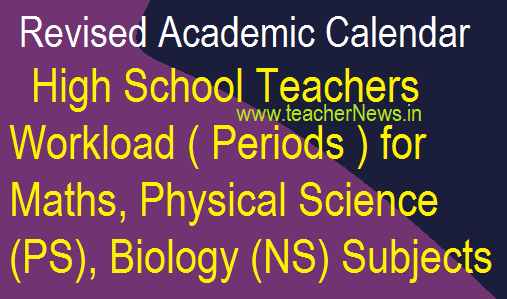 High School Teachers Workload for Maths, PS, Biology Subjects - Revised Academic Calendar