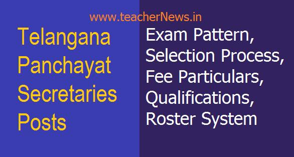 TS Panchayat Secretaries Posts Exam Pattern, Selection Process, Fee Particulars