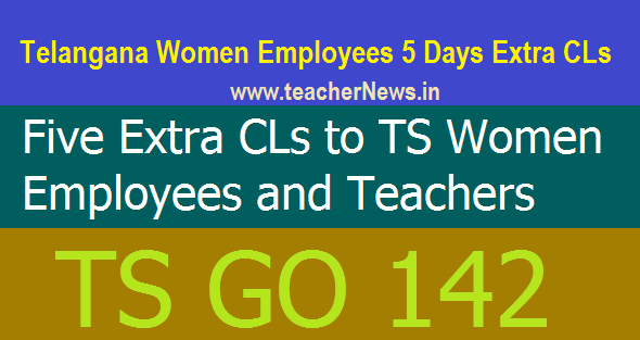 Telangana Women Employees 5 Days Extra CLs (Casual Leave) Sanctioned GO 142