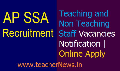 AP SSA Teaching Jobs 2020 Non Teaching Staff Vacancies Notification | Online Apply