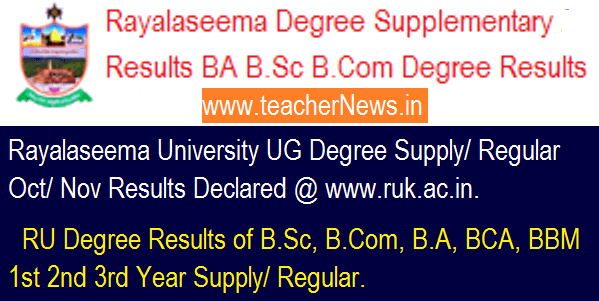 Rayalaseema University Degree Supplementary Regular Results 2018 - RU BA B.Sc B.Com Degree Results