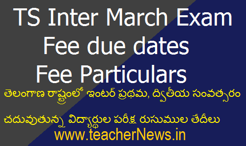 TS Inter March 2019 Exam fee due dates – Fee Particulars at bie.telangana.gov.in