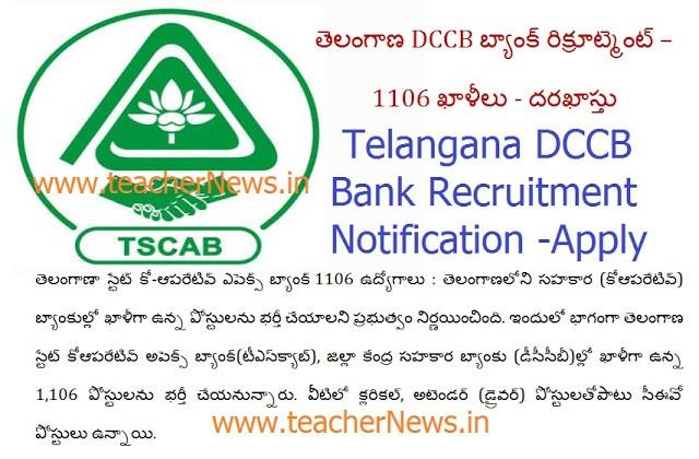 Telangana DCCB Bank Jobs 2018 Notification for 1106 Vacancies – Online Apply @ tscab.org