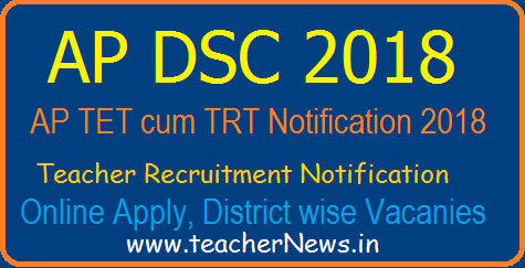 AP DSC Online Apply 2018 - AP Teacher Posts Notification Schedule at apdsc.apcfss.in