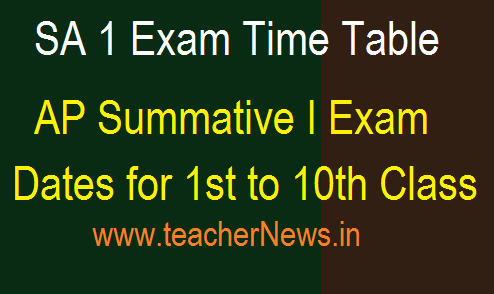 AP SA 1 Exam Time Table 2021 - Summative 1 Dates for Primary/ UP/ High Schools 2021