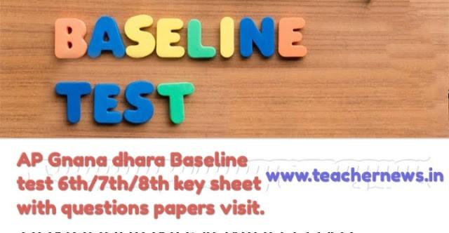 AP Gnana dhara Baseline Test Answer Key for 6th/ 7th/ 8th/ 9th/ 10th key sheet - Proforma 2021